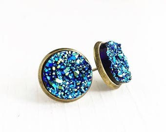 Faux Druzy Stud Earrings / Pick Your Finish / Blue Iridescent Silver or Bronze Post Back Stone Look Faux Plugs Gauges Bridesmaids Party