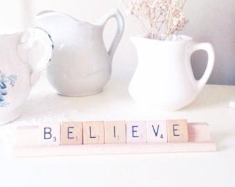 Believe Scrabble Sign Scrabble Letters Rustic Christmas
