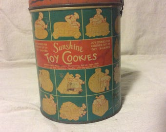 Vintage Sunshine Toy Cookie Tin with Handle