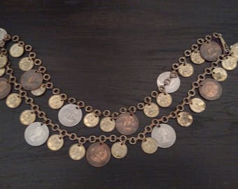 Vintage 1960s Multi 34 Various Size Coin Necklace Belt  Great For Steampunk Collecter Tinker