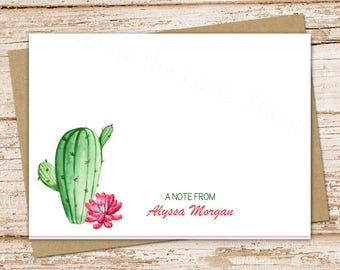 cactus note cards, notecards set . succulents stationery . watercolor cactus . folded stationary . set of 8