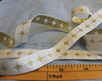 Gold and White Harlequin Ribbon Trim