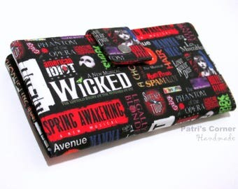 Handmade women's wallet clutch - Favorite  musical theater - Broadway shows - Custom order - gift for her - ID clear pocket