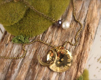 Moon I Love You to the Moon & Back Celestial Star Necklace