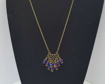 Rainbow Crystal Antique Bronze Necklace