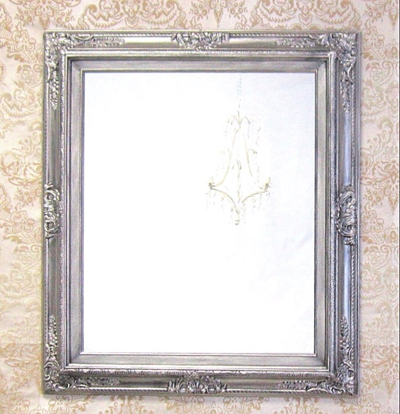MANY SIZES AVAILABLE Silver Framed Bathroom Mirror Baroque Vanity Wall 31x27 Decorative Ornate Unique
