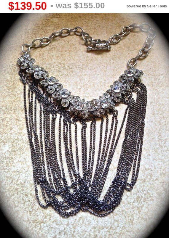 Summer Sale Fringe Statement Necklace with layered vintage chain