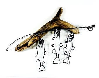 Trout Stringer and Fishing Rod Wire Sculpture, Trout Wire Art, Minimal Wire Sculpture, 539409267
