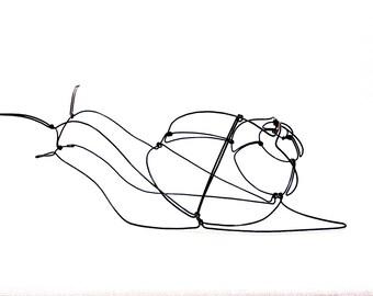 Snail Wire Sculpture, Folk Wire Art, Garden Wire Sculpture, 552779110