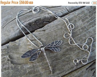 ON SALE Dragonfly necklace in sterling silver