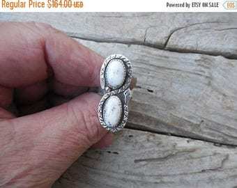 ON SALE Rattlesnake two stone ring handmade in sterling silver with White Buffalo turquoise