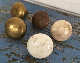 Antique Doorknob Handle Choice White Porcelain Marble Brass Vintage Doorknob Handle