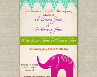 Bollywood birthday invitation, Bollywood baby shower invitation, elephant, turquoise green pink, bright colors