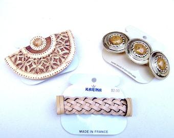 3 vintage Karina rustic themed hair barrette celluloid hair accessory hair clip hair slide hair ornament (ACZ)