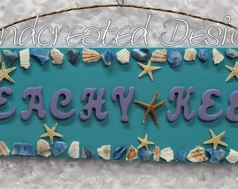 Turquoise Beachy Keen Fan Blade Sign, Repurposed Wooden Wall Art, Upcycled Wall Hanging, Seashell Embellisments, Starfish Accents, Handmade