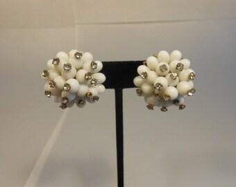 The Milky Way Aglow  - Vintage 1960s White Milk Glass w/Rhinestone Screw Back Earrings