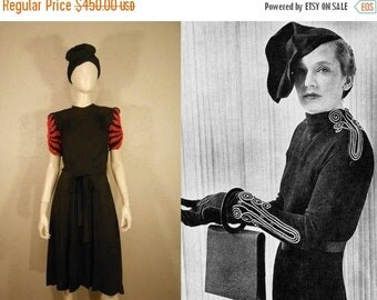Anniversary Sale 35% Off Fire Bursts Above Her Head - Vintage 1930s Black Crepe Rayon Dress w/Fire Red Flame Beading - 4/6
