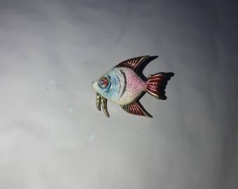 Gold Sparkling Enamel Pink Blue Sugared Fish Brooch