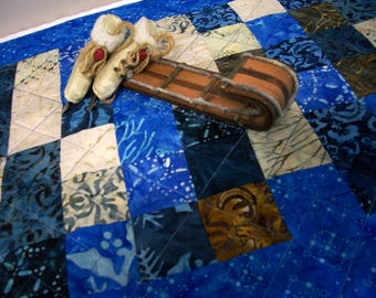 Winter Table Runner Blue Snow Day Batiks Quilted Quiltsy Handmade FREE U.S. Shipping
