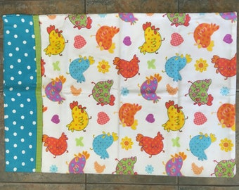 Kids flannel pillowcase, Chickens bright color print Kids, toddler, juvenile pillowcase, sleepover pillowcase, kids standard pillowcase
