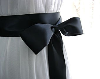 3 inch wide flower girl sash, Navy blue / dark blue wedding sash, bridal sash, junior bridesmaid sash, bridal belt, 3 inch satin ribbon