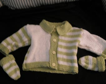 Hand knit baby girl or boy's soft green and white striped sweater set