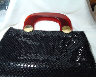 Large Bags by MARLO Vintage Black Mesh Handbag Whiting and Davis Like with Brown Lucite Handles.
