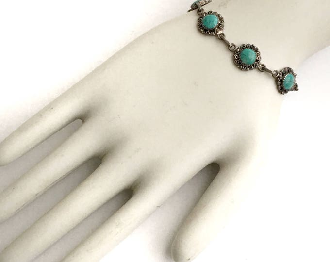 Sterling Silver & Turquoise Bracelet Native American Southwestern Style