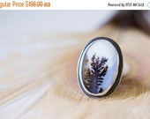SUMMER SALE Dendritic Agate Ring in Sterling Silver Ring - Plume Agate Ring - Collector Stone - Self and Soul - Size 7.5