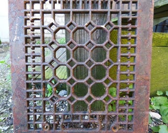Antique Cast iron Metal Grate Floor Wall  Architectural salvage Cathedral Gothic Decorative