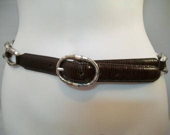 Vintage Brighton Belt, Leather Belt, Thin Belt, Silver tone Metal Conchos Belt, fashion Belt, Accessories,