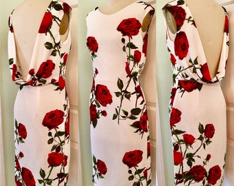 Ready to Ship  Pinup Red Rose Wiggle Dress- 1960s Marilyn Style Something's Got To Give