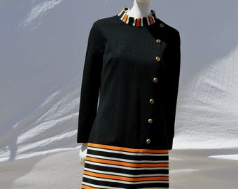 Vintage 70's Mod party cocktail bleeker street dress polyester striped mid century eames sL by thekaliman