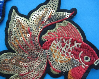 Sew-on embroidered sequin Patch Goldfish (red or blue) 5 inch