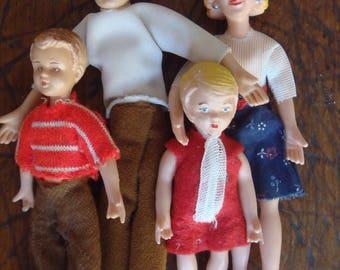 Vintage 1950s German Caco miniature dollhouse family Biegepuppen