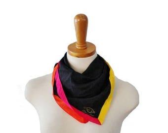 50% half off sale // Vintage 80s Color Block Black and Neon Silk Scarf - Oscar by Oscar De La Renta
