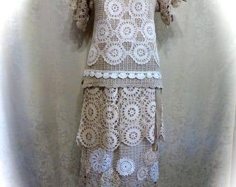 Off 50 Sale Wedding Dress Boho Victorian Two Piece Repurposed Vintage 1970s Crochet