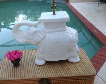 ELEPHANT GARDEN STOOL Lamp / Elephant Plant Stand Lamp / Hollywood Regency Elephant Lamp / Chinoiserie Elephant Lamp Retro Daisy Girl