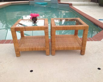 """WOVEN RATTAN Side Tables / Hollywood Regency /17 3/4""""x 17 3/4"""" x 16"""" tall / Billy Baldwin Style / Coastal Cottage Style at Retro Daisy Girl"""