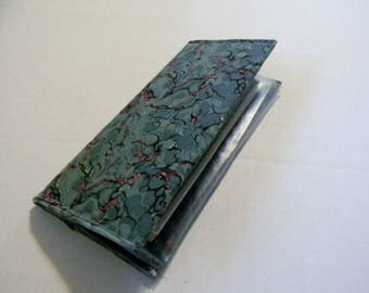 Green Marbled Fabric Checkbook Cover