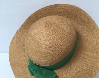 1930s Straw Boater Hat Green Ribbon Antique Millinery