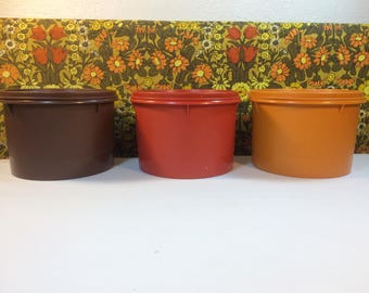 Vintage Tupperware Set 3 Storage Containers Stackable 263 Orange Brown Campervan Accessories