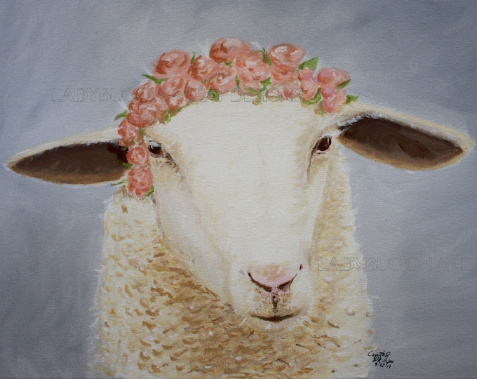 Sheep Art, Sheep with Flower on Head, Print available as framed mini art print