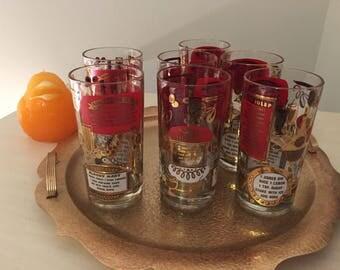 JENETTE COCKTAIL GLASSES, Red & Gold, 7 Glasses, Highball Glasses, 24kt Gold, McM Barware, Singapore Sling, Bloody Mary at Modern Logic