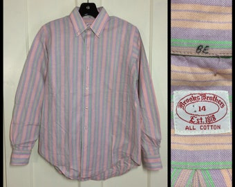 Brooks Brothers all cotton Oxford dress shirt size 14 small pastel peach lavender mint green striped Ivy League preppy button down collar