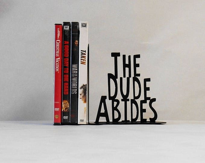 The Dude Abides, Single Metal Art Bookend, Movies, Books, Organizer, Metal Art, Shelf Decor,