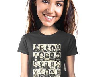 band t-shirt, music fan, rock music t-shirt, rock and roll, mug shots, rock star tee, famous mug shots, gift for fan of rock and roll, s-2xl