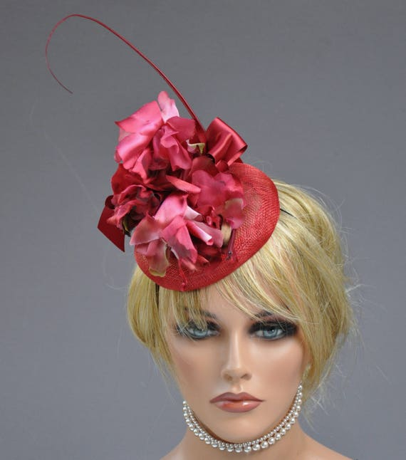 Red Fascinator, Kentucky Derby Fascinator Hat, Wedding Fascinator Headpiece, Red Headpiece, Vintage Flower Headpiece, Ascot Hat,