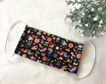 Organic Surgical Mask/ Teen/ Adult Small Size/ Groomer Mask/ Anti-Dusk Mask/ Travel Face Mask/ Woodlands/ Black/ brid and flowers