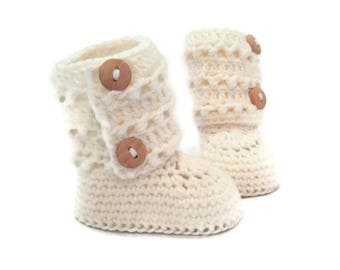 Tall Eyelet Lace Button Cuff Baby Booties in White Merino Wool